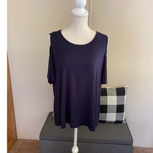 NWT Navy Blue Cold Shoulder Top Size 1X